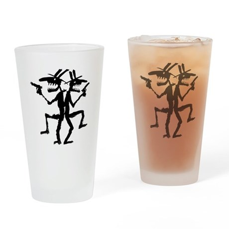 Duelling Cowboys Drinking Glass