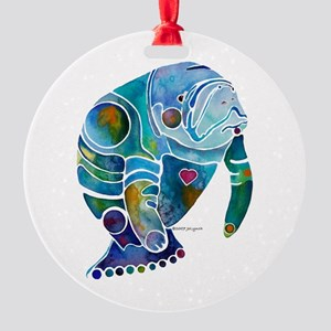 Manatees Endangered Species Round Ornament