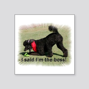 """I am the Boss Poodle Square Sticker 3"""" x 3"""""""