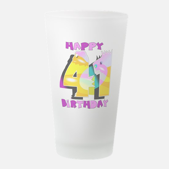 Happy 41 Birthday.png Frosted Drinking Glass
