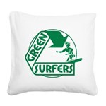 Green Surfers 10 Square Canvas Pillow