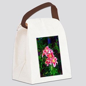 Pink Lilies Canvas Lunch Bag