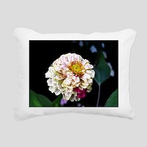 Peppermint Zinnia Rectangular Canvas Pillow