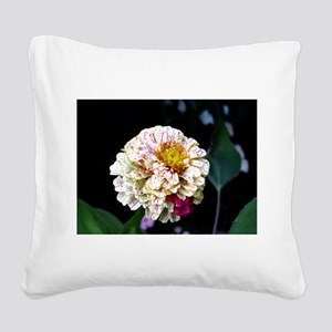 Peppermint Zinnia Square Canvas Pillow