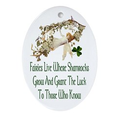 'Where Shamrocks Grow' Oval Ornament
