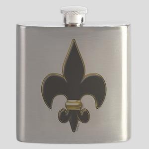 Fleur De Lis Black and Gold Flask