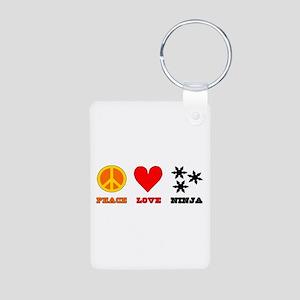 Peace Love Ninja Aluminum Photo Keychain