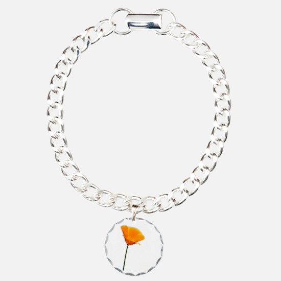 California Poppy Charm Bracelet, One Charm