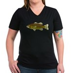 Smallmouth Bass Women's V-Neck Dark T-Shirt