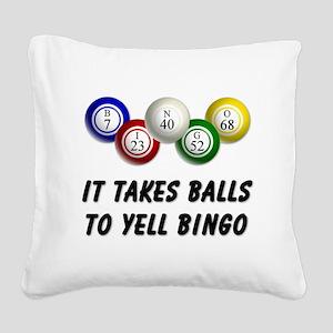 Balls to Bingo Square Canvas Pillow