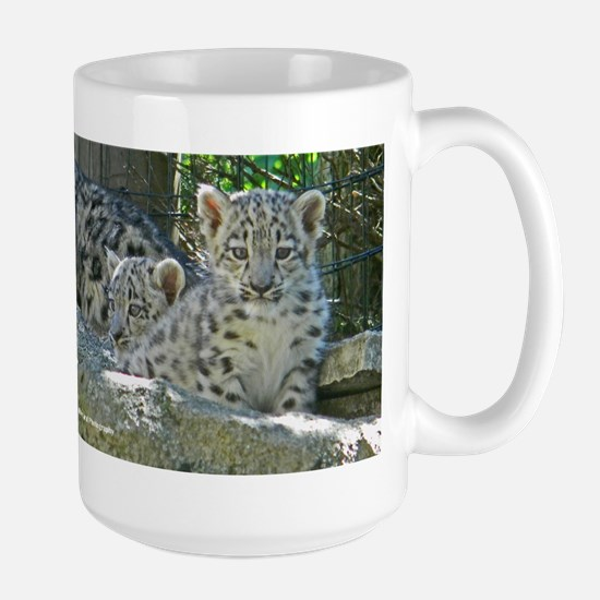 2 Baby Snow Leopards Large Mug