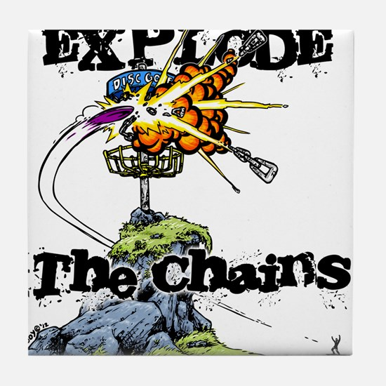 Disc Golf EXPLODE THE CHAINS Tile Coaster