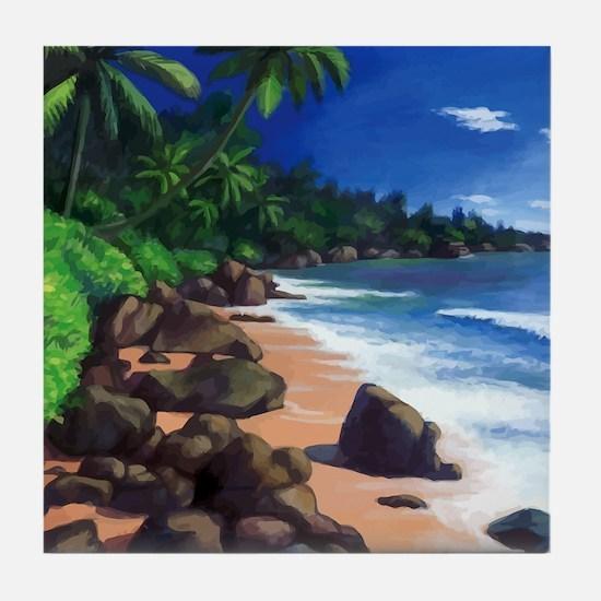 Beach Painting Tile Coaster