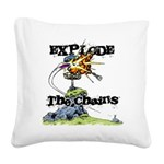 Disc Golf EXPLODE THE CHAINS Square Canvas Pillow