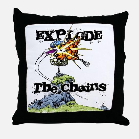 Disc Golf EXPLODE THE CHAINS Throw Pillow
