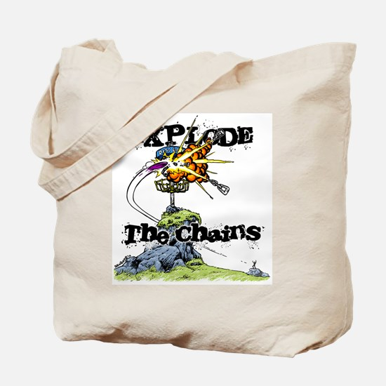 Disc Golf EXPLODE THE CHAINS Tote Bag