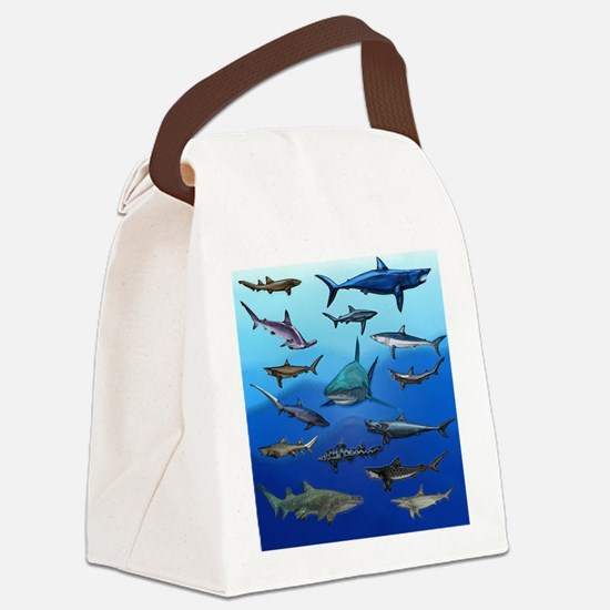 Shark Gathering Canvas Lunch Bag