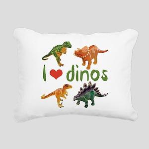 I Love Dinos Rectangular Canvas Pillow