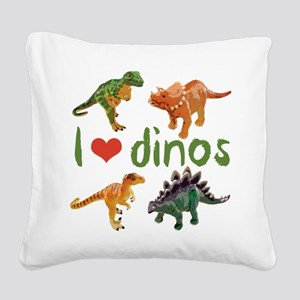 I Love Dinos Square Canvas Pillow