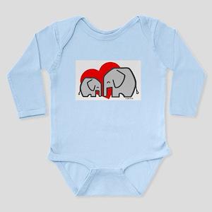 Cute Elephants Long Sleeve Infant Bodysuit