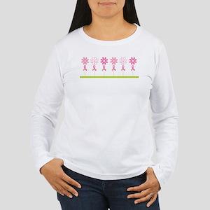 Breast Cancer Awareness Flowers Women's Long Sleev