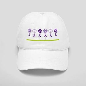 Alzheimers Purple Ribbon Flower Cap