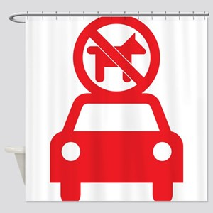 No Dogs on Cars Shower Curtain