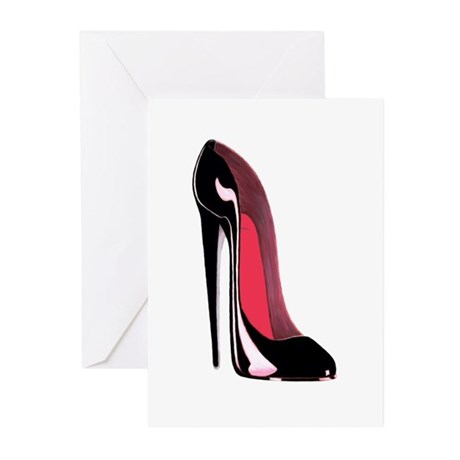 Black Stiletto Shoe Art Greeting Cards (Pk of 20)