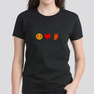 Peace Love Rock n Roll Women's Dark T-Shirt