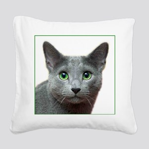 Russian Blue Cat Square Canvas Pillow