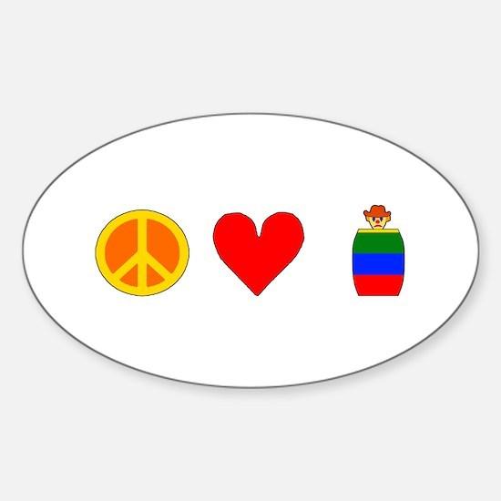 Peace Love Rodeo Clowns Sticker (Oval)