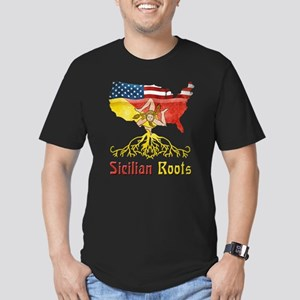 American Sicilian Roots Men's Fitted T-Shirt (dark