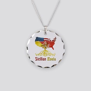 American Sicilian Roots Necklace Circle Charm
