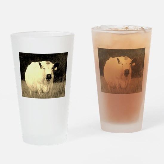 British White Cow at Pasture Drinking Glass