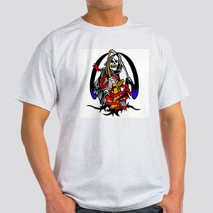 Tribal Grim Reaper Ash Grey T-Shirt