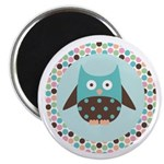 "Mod Owl With Polka dots 2.25"" Magnet (10 pack"