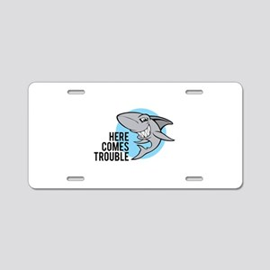 Shark- Here comes trouble Aluminum License Plate