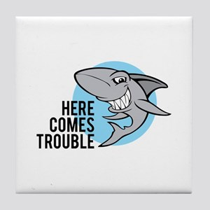 Shark- Here comes trouble Tile Coaster