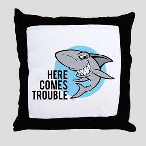 Shark- Here comes trouble Throw Pillow