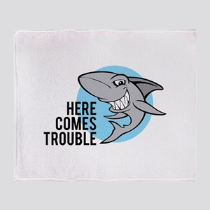 Shark- Here comes trouble Throw Blanket