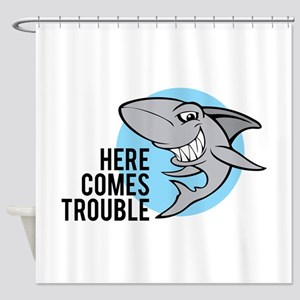 Shark- Here comes trouble Shower Curtain