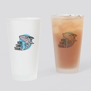 Shark- Here comes trouble Drinking Glass