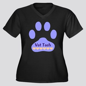 Vet Tech Paw 22 Women's Plus Size V-Neck Dark T-Sh