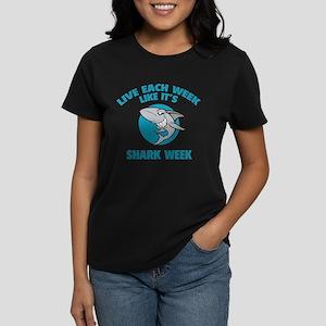 Live each week like it's shark week Women's Dark T