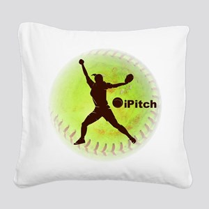 iPitch Fastpitch Softball Square Canvas Pillow