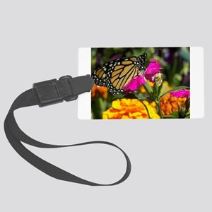 Monarch Butterfly on pink marigo Large Luggage Tag