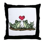 2 Frogs Throw Pillow