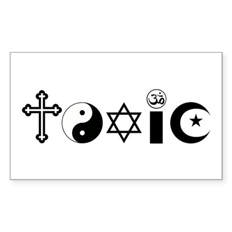 Religion is Toxic Sticker (Rectangle)