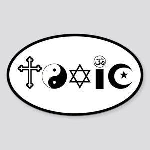 Religion is Toxic Sticker (Oval)