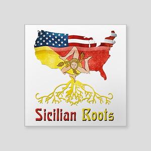 """American Sicilian Roots Square Sticker 3"""" x 3"""
